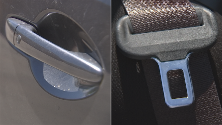 Metal seat belts, plastic latches on car seats, even door handles can get so hot they'll burn an unsuspecting child's skin in a matter of seconds. (Source: 3TV/CBS 5)