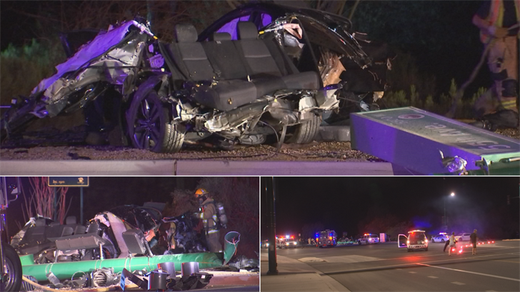 A driver has good Samaritans to thank for saving his life after pulling him from a fiery, mangled wreck that left his vehicle unrecognizable in Glendale late Tuesday night. (Source: 3TV/CBS 5)
