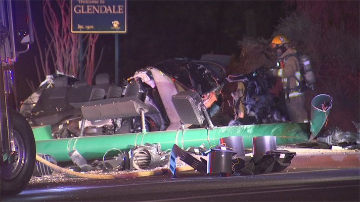 The crash completely destroyed his vehicle and caused it to catch fire.(Source: 3TV/CBS 5)
