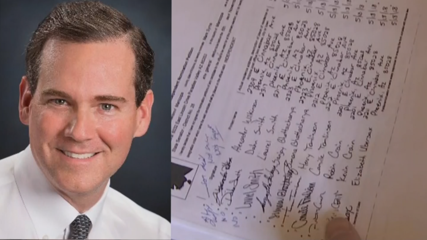 """A lawsuit filed Monday accuses several signature collectors working for Mark Syms of carrying out, """"the most extensive and pervasive petition fraud scheme in recent Arizona history."""" (Source: 3TV/CBS 5)"""