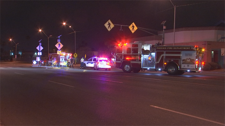 The woman was struck while crossing Indian School Road near 20th Avenue around 11 p.m. (Source: 3TV/CBS 5)