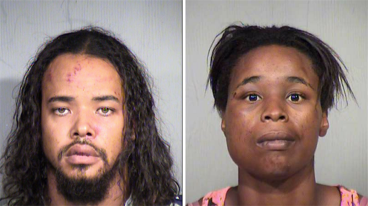 Mark Foster, 34 (left) and Vivian Thompson, 28 arrested in connection to an altercation that left 3 Phoenix police officers injured. (Source: Maricopa County Sheriff's Office)