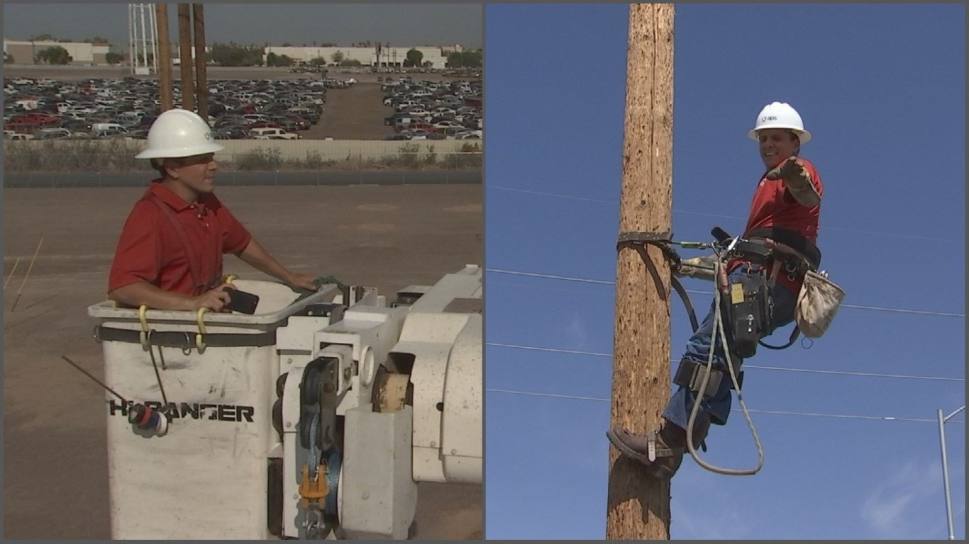 I went up in a bucket (30 feet!) and geared up to climb a pole. (Source: 3TV/CBS 5)