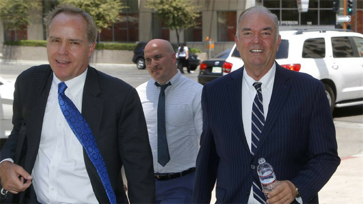 Expelled Arizona House Rep. Don Shooter, right, arrives at court with attorney Tim Nelson, left, Thursday, June 14, 2018, in Phoenix. (Source: AP Photo/Ross D. Franklin)