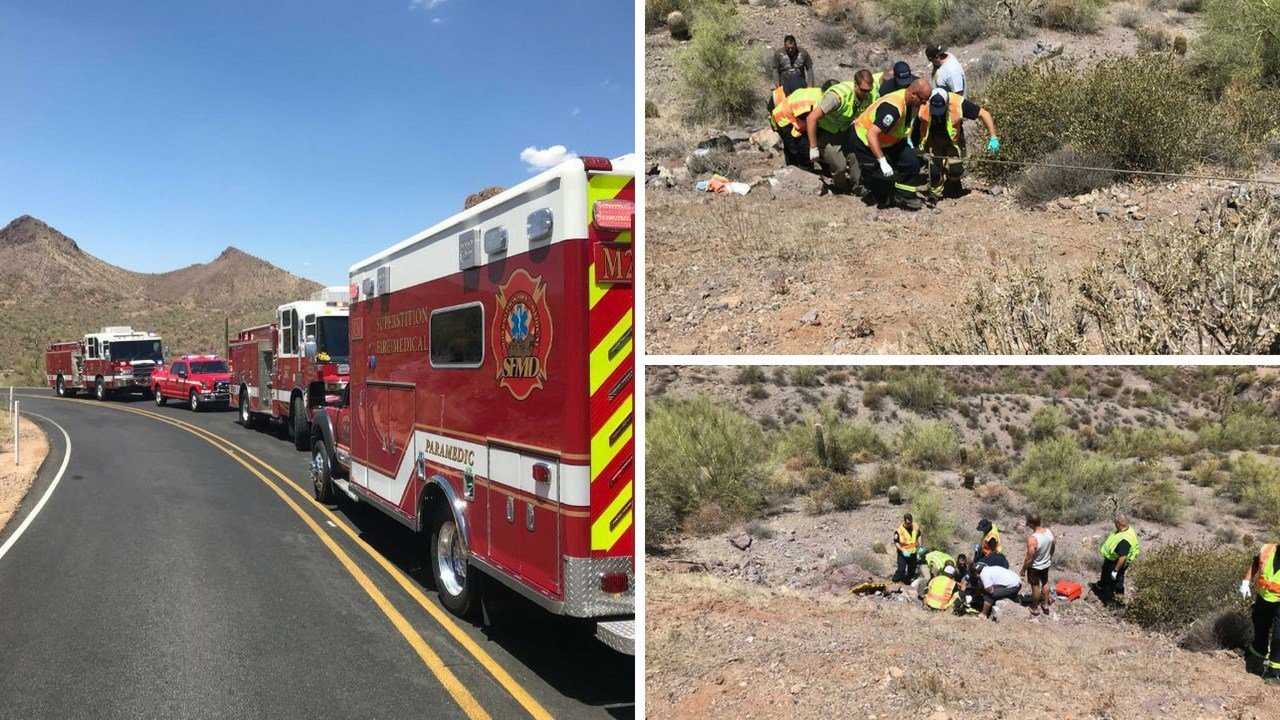 A motorcyclist was transported to a hospital after driving over a cliff near Apache Junction Sunday morning. (Source: SFMD)