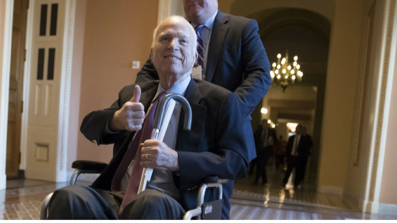 McCain leaving a closed-door session on Capitol Hill. (Source: AP Photo/J. Scott Applewhite, File)
