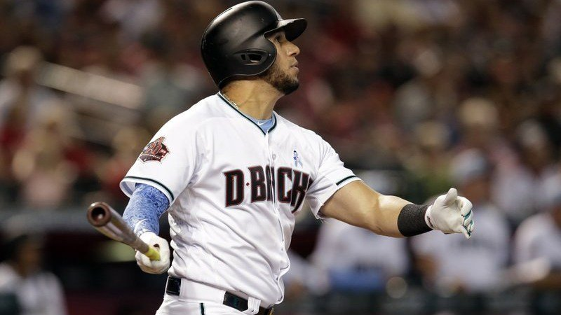 Arizona Diamondbacks David Peralta watches his RBI-double against the New York Mets in the fourth inning during a baseball game, Sunday, June 17, 2018, in Phoenix. (Source: AP Photo/Rick Scuteri)