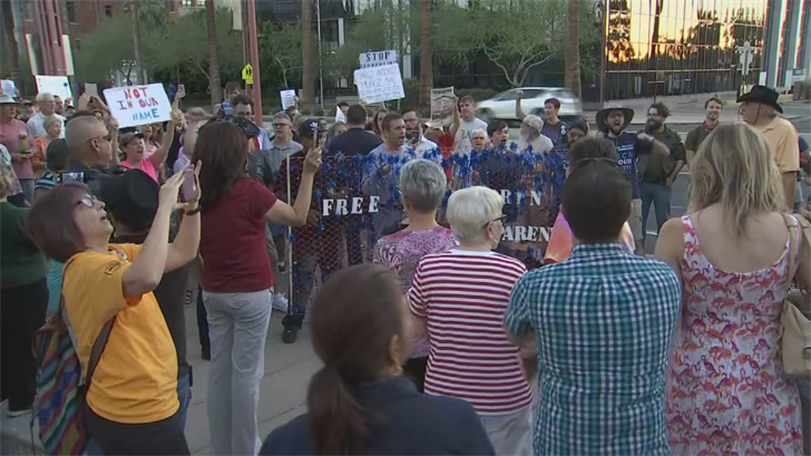 """Different community groups came together to protest what they're calling """"a broken immigration system."""" (Source: 3TV/CBS 5)"""