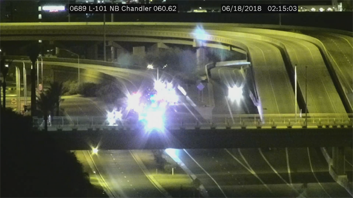 The westbound Loop 202 to northbound Loop 101 transition ramp was blocked because of the crash. (Source: 3TV/CBS 5)