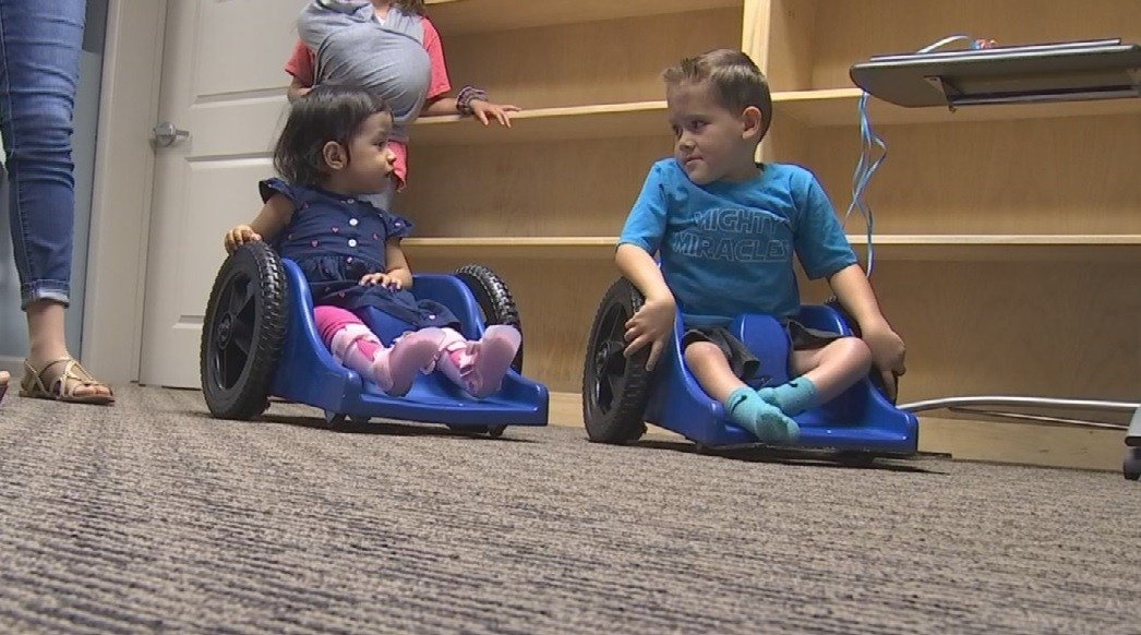 Parker and Jacqueline now both have wheelchairs to get around thanks to a shipping mix-up. (Source: 3TV/CBS 5)