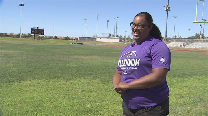 Alaina Diggs won the state title with a throw over 45 feet and plans to crush the state record next season. (Source: 3TV/CBS 5)