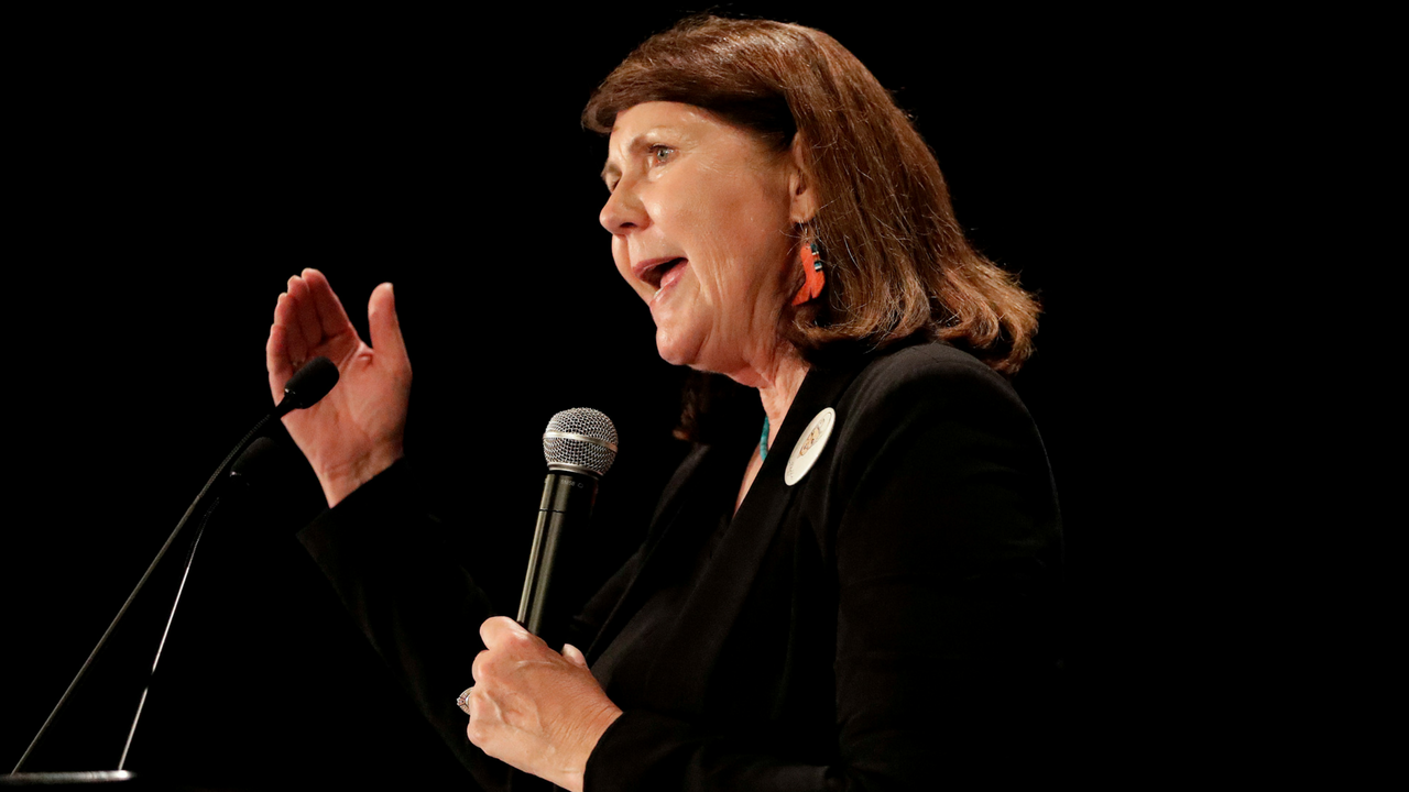 Ann Kirkpatrick, D-Ariz., speaks to supporters during an election night party, Tuesday, Nov. 8, 2016, in Phoenix. (Source: AP Photo/Matt York)