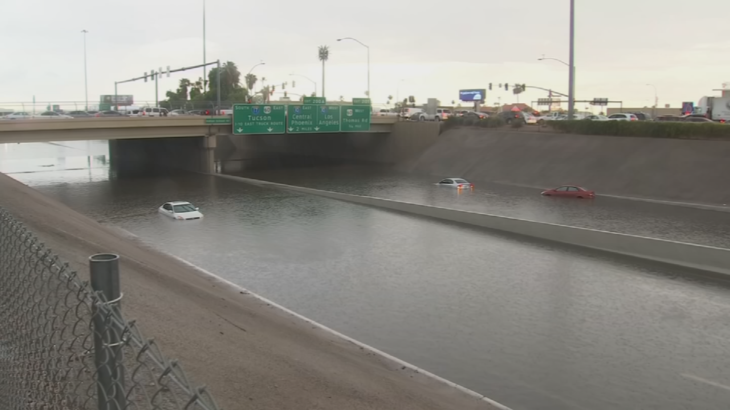 Torrential downpours turning roads into rivers! (Source: 3TV/CBS 5)