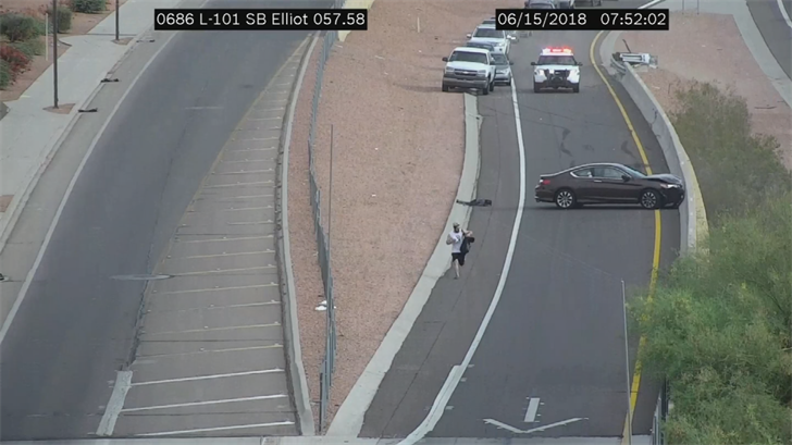 Vierra fled on foot after crashing into a barrier on a Loop 101 off-ramp. (Source: Arizona Department of Transportation)