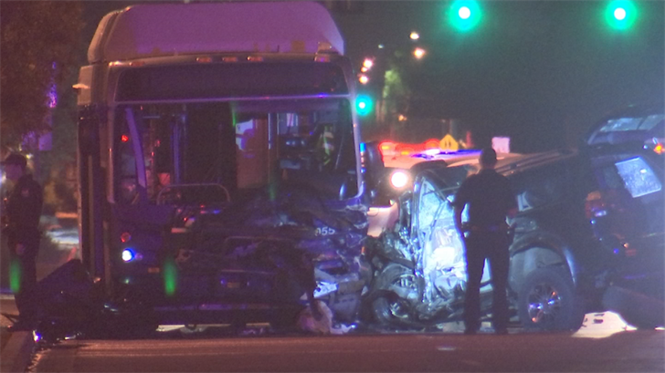 An SUV and city bus collided at 61st Avenue and Van Buren Street. (Source: 3TV/CBS 5)