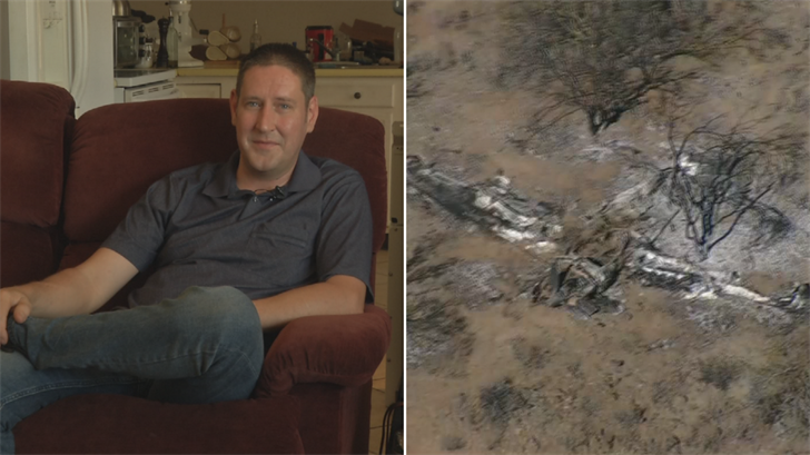 Ken Kendall says he's lucky to be alive after walking away from a fiery plane crash Tuesday. (Source: 3TV/CBS 5)