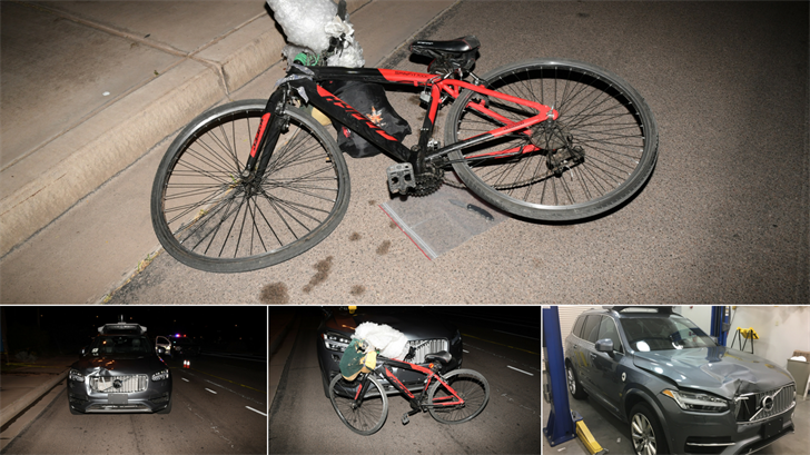 The Tempe Police Department released new aftermath photos of the deadly self-driving Uber crash on Mill Avenue back in March. (Source: Tempe Police Department)