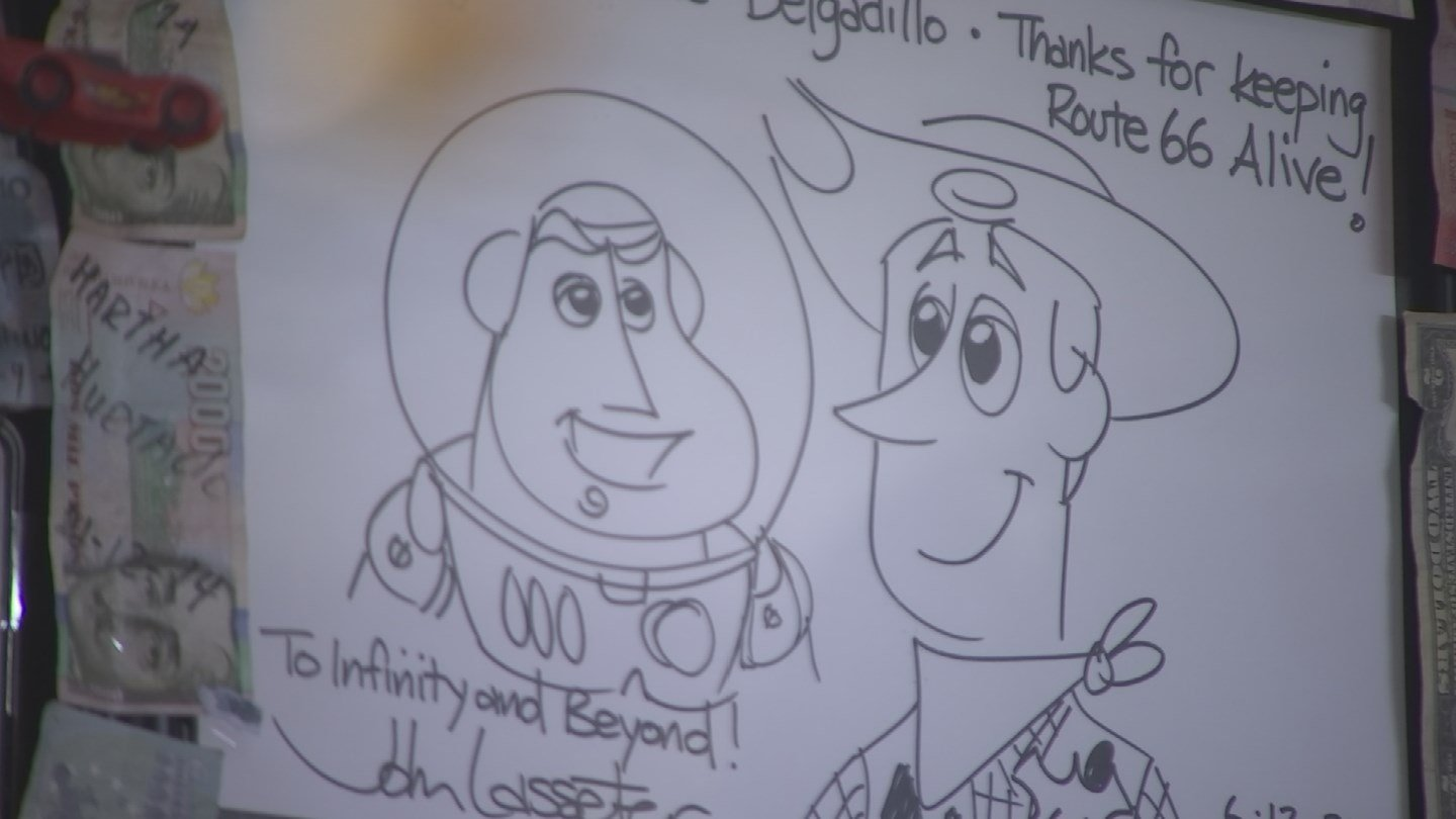 John Lasseter, he creator of the movie 'Cars,'left a doodle, which now hangs in Delgadillo's gift shop. (Source: 3TV/CBS 5)