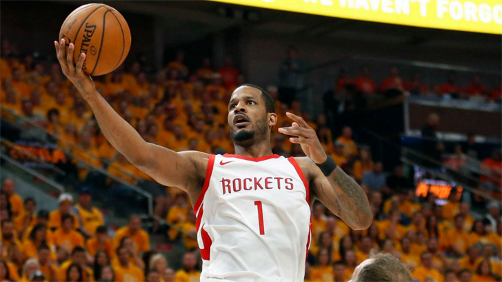 FILE - In this May 4, 2018, file photo, Houston Rockets forward Trevor Ariza (1) lays the ball up during the first half in Game 3 of an NBA basketball second-round playoff series. (Source: Rick Bowmer, File/Associated Press)