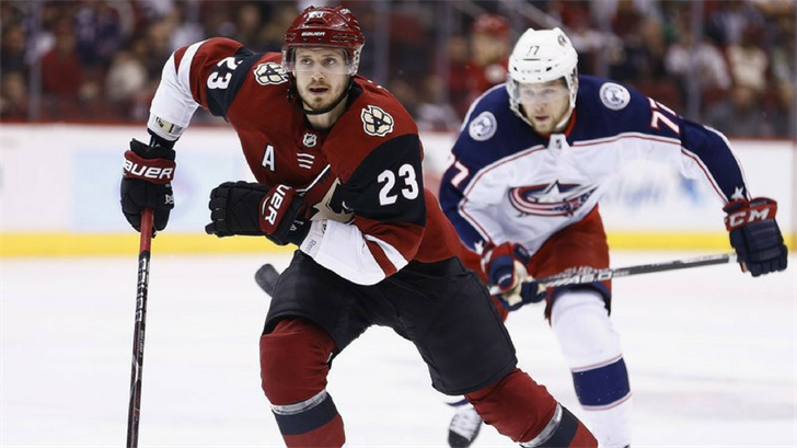 FILE - In this Jan. 25, 2018, file photo, Arizona Coyotes defenseman Oliver Ekman-Larsson (23) skates to the puck during the first period of an NHL hockey game, in Glendale, Ariz. (Source: AP Photo/Ross D. Franklin, File)
