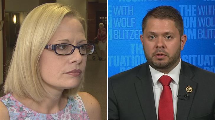 Democratic Reps. Ruben Gallego and Kyrsten Sinema don't want to abolish ICE. (Source: 3TV/CBS 5/CNN)