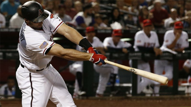 Arizona Diamondbacks' Paul Goldschmidt swings on a three-run home run against the St. Louis Cardinals during the fifth inning of a baseball game Tuesday, July 3, 2018, in Phoenix. (Source: AP Photo)