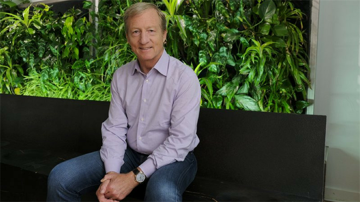 In this photo taken Wednesday, June 27, 2018, environmental activist & billionaire Tom Steyer poses at his offices in San Francisco. (Source: AP Photo/Eric Risberg)