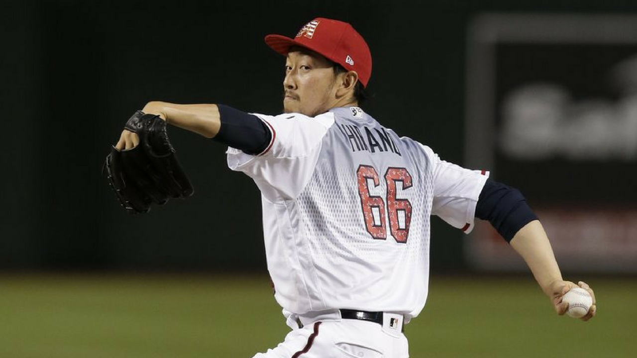 Arizona Diamondbacks pitcher Yoshihisa Hirano throws during the seventh inning of the team's baseball game against the St. Louis Cardinals, Wednesday, July 4, 2018, in Phoenix. (Source: AP Photo)