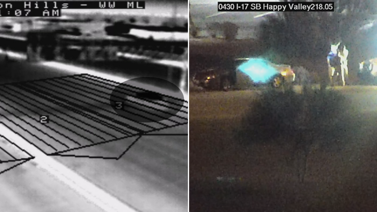 ADOT's wrong-way thermal detection system spotted a wrong-way driver on the I-17's main lanes. (Source: ADOT)