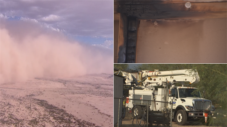 Thursday's dust storm was to blame for more than just bad visibility, it also knocked out power to about 100 east Valley residents and started a Mesa church on fire. (Source: 3TV/CBS 5)