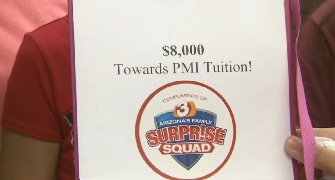 She received $8,000 for tuition. (Source: 3TV/CBS 5)