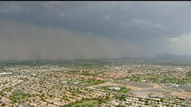 Dust wall moving in from the east on Monday, June 9, 2018 (Source: 3TV/CBS 5)