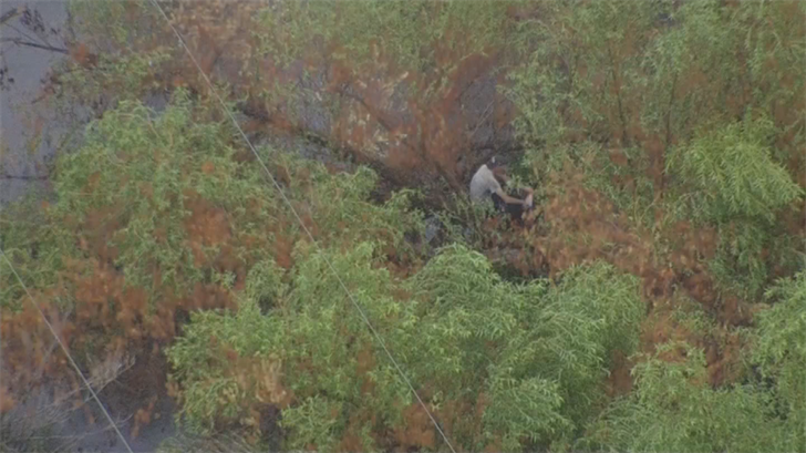 A man was left stranded on a tree branch at the Salt River in the middle of a chaotic monsoon storm that hit the Phoenix area Monday. (Source: 3TV/CBS 5)