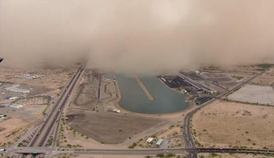 Wall of dust about to envelope Firebird Lake (Soruce: 3TV/CBS 5)