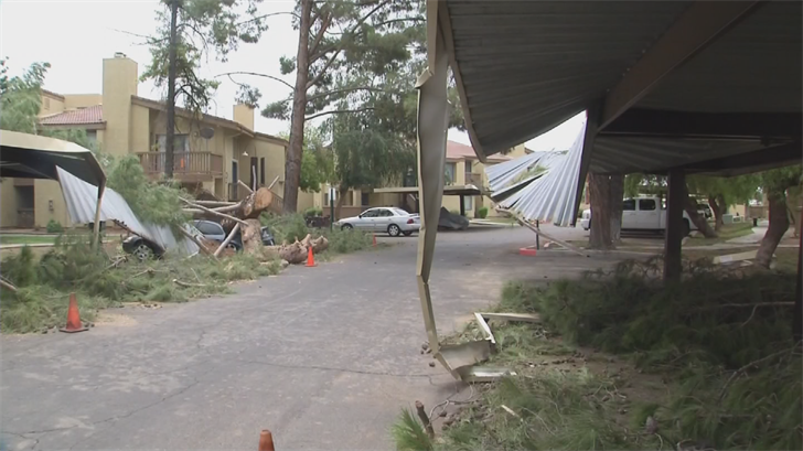 People were out working hard to clean up after the monsoon. (Source: 3TV/CBS 5)