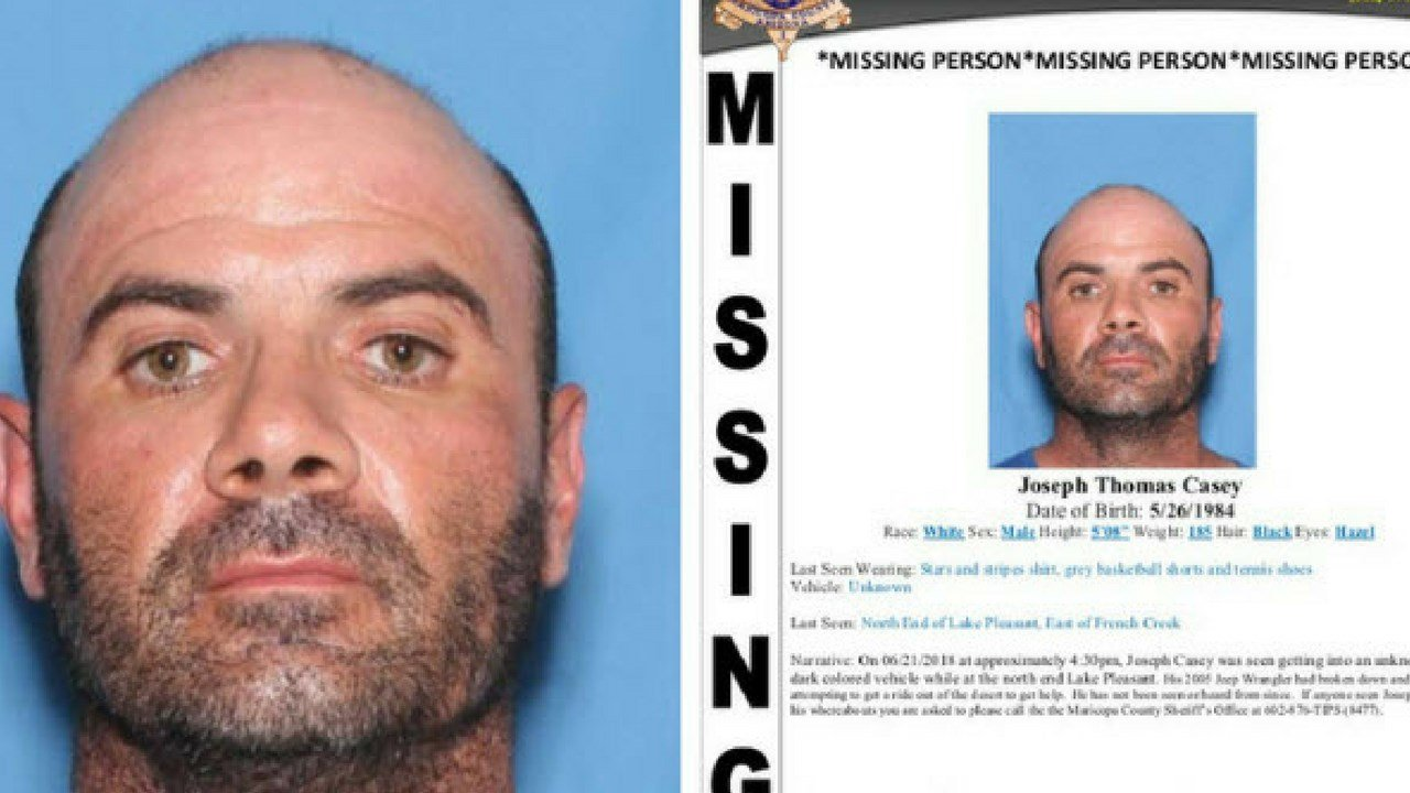 According to the Maricopa County Sheriff's Office, 34-year-old Joseph Thomas Casey went missing on June 21 at the north end of Lake Pleasant around 4:30 p.m. (Source: Maricopa County Sheriff's Office)