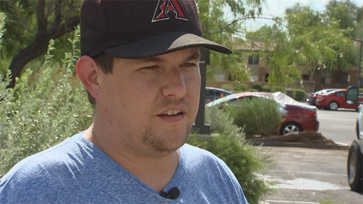 On Monday, Brent Yosick was running things out from his car into the Extended Stay America where his family was living. His car was only in the parking lot for a few minutes when a gust of wind knocked over the entire tree next to it. (Source: 3TV/CBS 5)