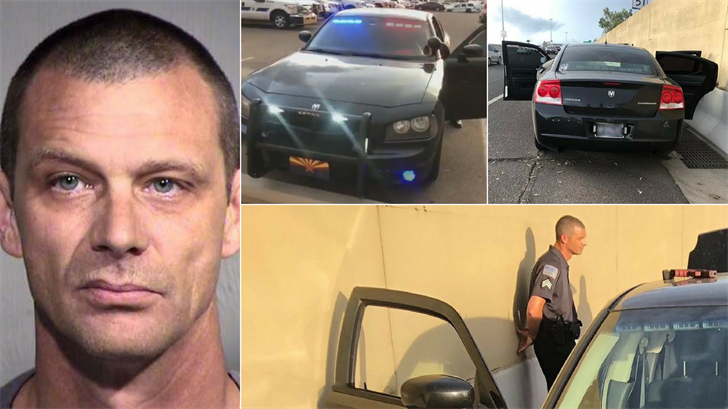 Matthew Disbro installed fake emergency lights into his personal vehicle to impersonate a police officer. (Source: Arizona Department of Public Safety)