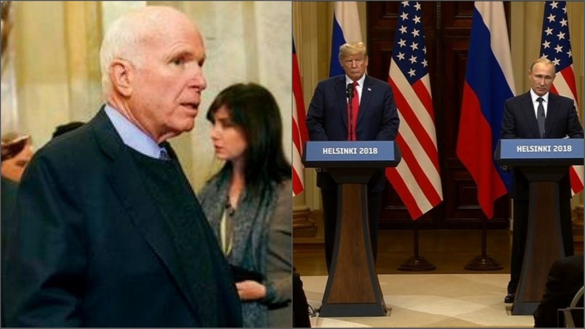 Arizona Sen. John McCain slammed President Donald Trump over a news conference he held with Russian President Vladimir Putin on July 16, 2018 in Helsinki, Finland. (Sources AP file photo and CNN Wire)