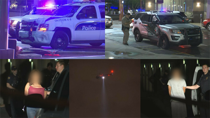 Authorities say a Phoenix police cruiser and an Arizona Department of Public Safety vehicle collided while pursuing a minivan full of people following an armed robbery. (Source: 3TV/CBS 5)