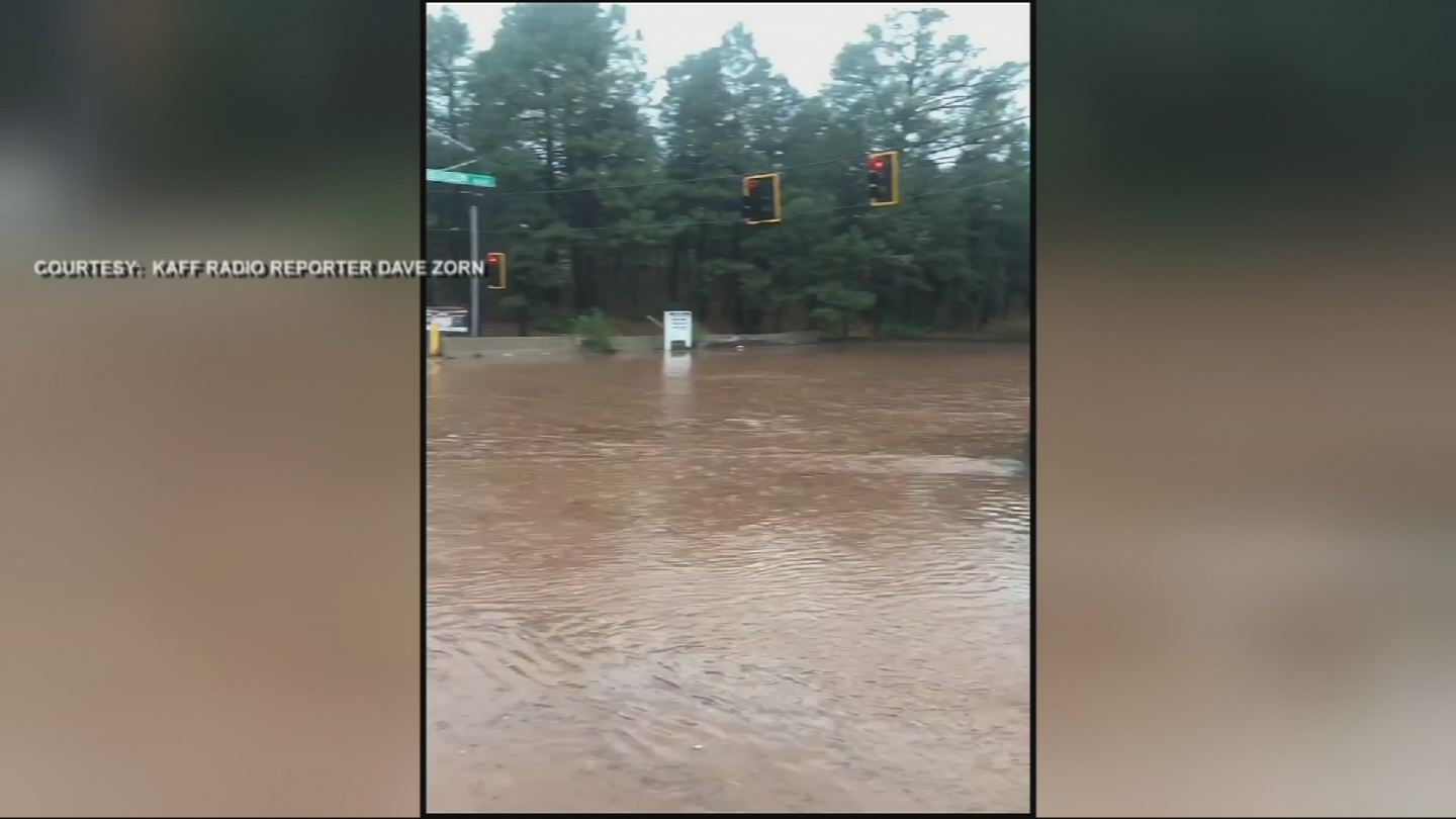 Flooded street in Flagstaff (Source: KAFF Radio reporter Dave Zorn)