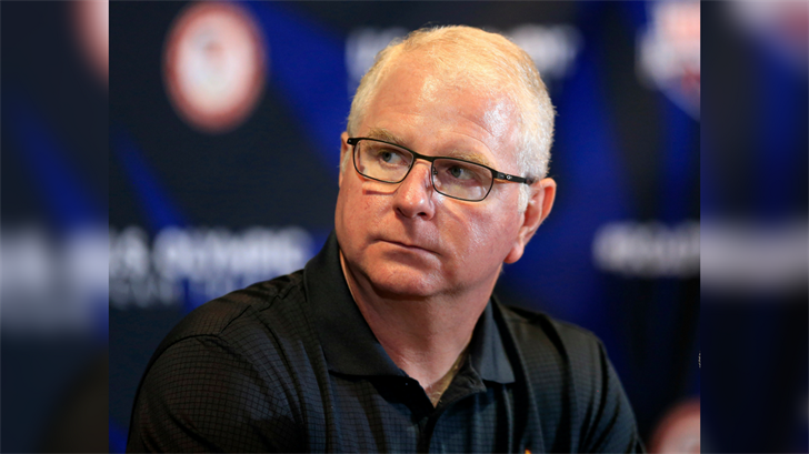 U.S. Olympic team coach Bob Bowman listens to a question during a news conference at the U.S. Olympic team swimming trials in Omaha, Neb., Saturday, June 25, 2016. (Source: AP Photo/Orlin Wagner)