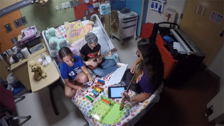 A few days a week, she goes room to room with her cart full of instruments, giving private music sessions to patients. (Source: 3TV/CBS 5)