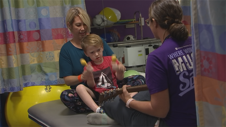For him, music therapy is helping teach Korbin how to talk and use his body again.(Source: 3TV/CBS 5)