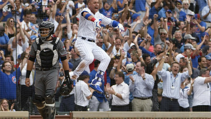 Chicago Cubs' Albert Almora Jr. (5) celebrates after Anthony Rizzo (44) hit a game-winning home run against the Arizona Diamondbacks during the ninth inning of a baseball game Thursday, July 26, 2018, in Chicago. The Cubs won 7-6. (Source: AP Photo)