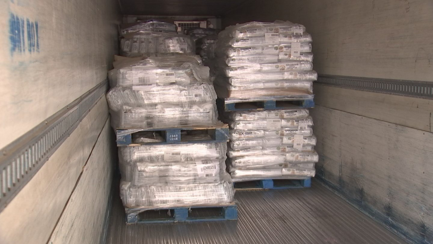 25 pallets of dog food were donated to MCACC Monday morning. (Source: 3TV/CBS 5)