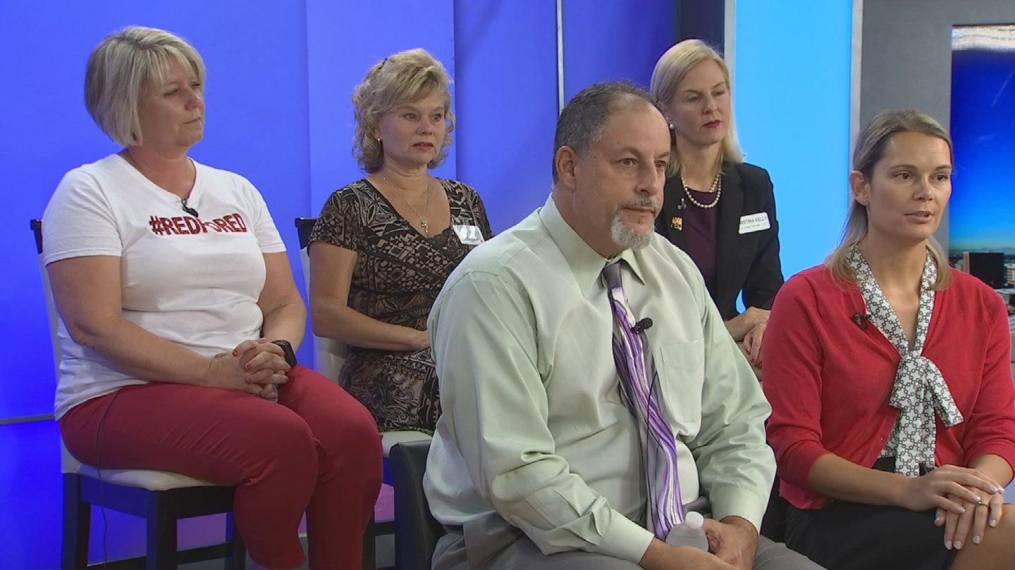 Mendy Gomez (back left), Christine Marsh (back middle), Kristina Kelly (back right), Eric Kurland (front left) and Jennifer Samuels (front right) are among the estimated two dozen teachers running for seats in the Legislature.(Source: 3TV/CBS 5)