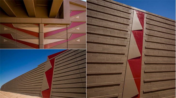 Custom-designed fins line the walls along Loop 202 South Mountain Freeway in Ahwatukee. (Source: Arizona Department of Transportation)