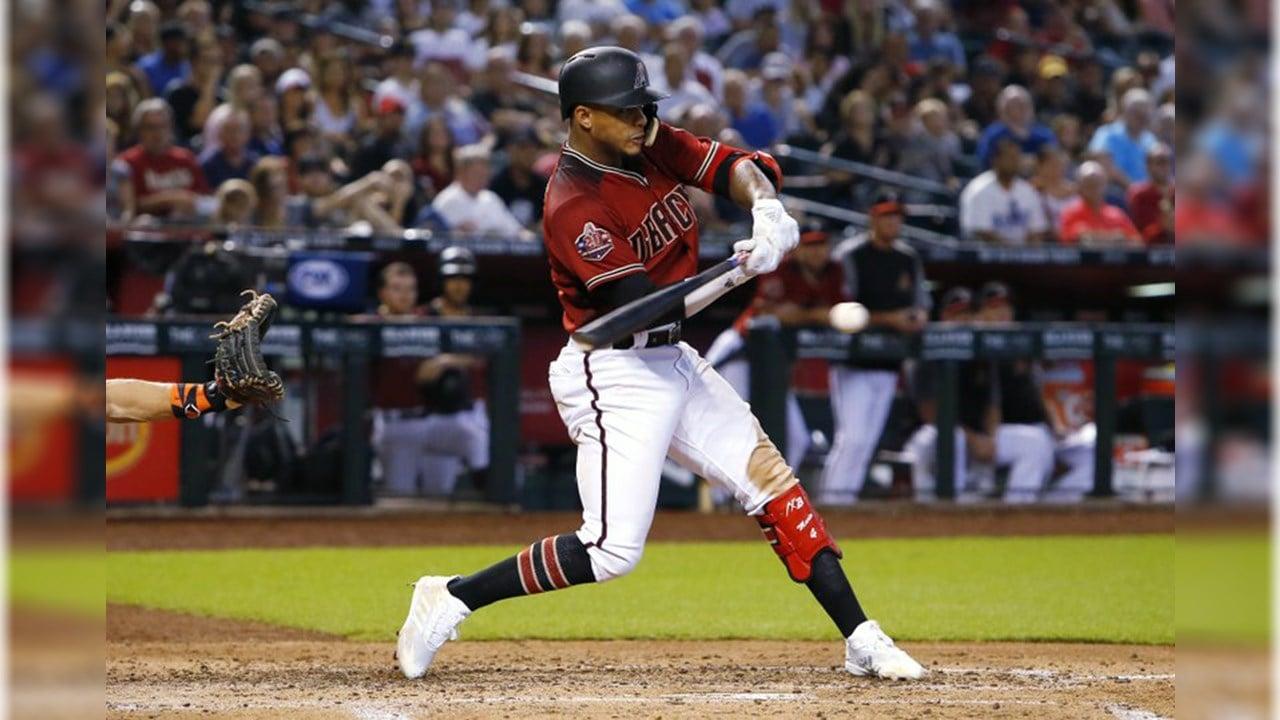 Arizona Diamondbacks' Ketel Marte hits an RBI single in the fourth inning during a baseball game against the San Francisco Giants, Sunday, Aug. 5, 2018, in Phoenix. (Source: AP Photo/Rick Scuteri)