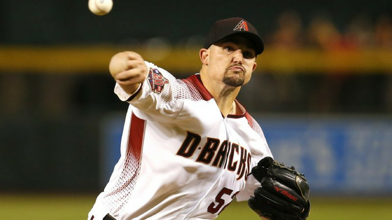 Arizona Diamondbacks pitcher Zack Godley throws in the first inning during a baseball game against the Philadelphia Phillies, Monday, Aug. 6, 2018, in Phoenix. (Source: AP Photo)